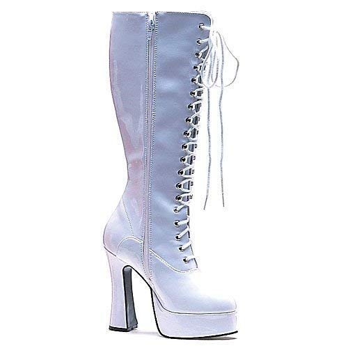 (Women's Shoes 5 Inch Heel Knee Boots with Zipper (White)