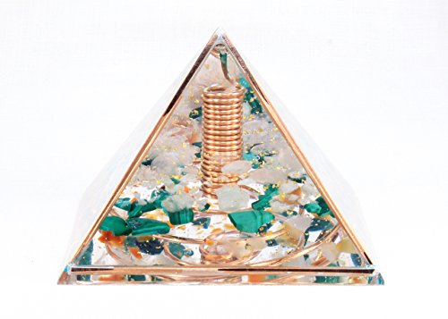 Orgonite Orgone Pyramid - Energy Generator - LOVE COPPER FRAME - Crystal Gemstone Pyramid - Quartz Rose Quartz Aventurine Agate Malachite - LARGE & POWERFUL! Add Yours to Cart Now! ()