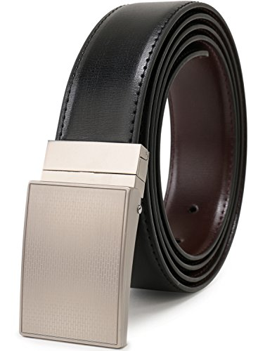 Black Leather Plaque Buckle Belt - Beltox Fine Men's Dress Belt Leather Reversible 1.25