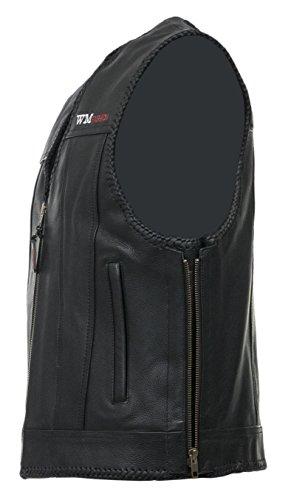 Lederweste Bikerweste mit seitlichem Reißverschluss Motorrad Kutte Biker Chopper Clubweste Rockerweste Custom