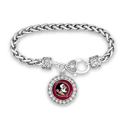 FTH Florida State Seminoles Clasp Bracelet with Round Team Logo and Embellished with Crystals (State Seminoles Florida Logo Charm)