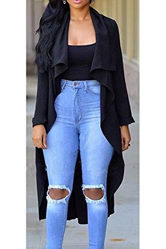 Donna Outwear Slim Eleganti Casual Bavero Fit Giacca Inclusa Cappotto Trench Manica Lunga Fashion Primaverile Nero Autunno Cintura Monocromo RqPd16w