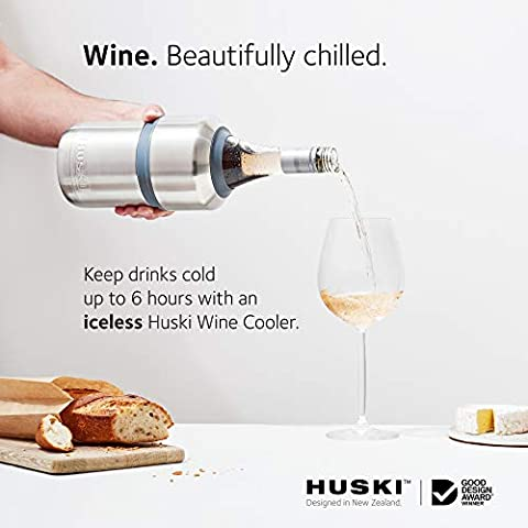 Huski Wine Cooler | Premium Iceless Wine Chiller | Keeps Wine Cold up to 6 Hours | Award Winning Design | New Wine Accessory | Fits Some Champagne Bottles | Perfect Gift for Wine Lovers (Stainless)