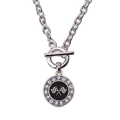 Inspired Silver - Racing Flags Toggle Charm Necklace for Women - Silver Circle Charm 18 Inch Necklace with Cubic Zirconia Jewelry