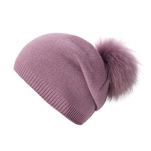 Women Knit Wool Beanie - Winter Solid Cashmere Ski Hats Real Raccoon Fur Pom Pom (Cameo)