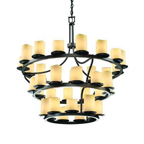 - Justice Design Group CandleAria 36-Light Chandelier - Dark Bronze Finish with Amber Faux Candle Resin Shade