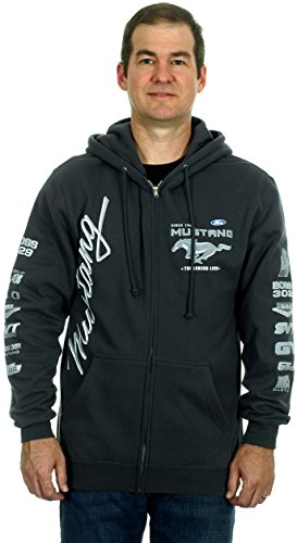 Ford Mustang Collage Charcoal Gray Hoodie (Large) (Mens Dressy V Neck 3xl Sweater)