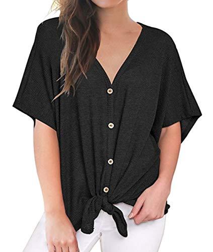 Ezsskj Womens V Neck Knitted Tops Blouse Black Pink Short/Long Sleeve Button Down Shirts