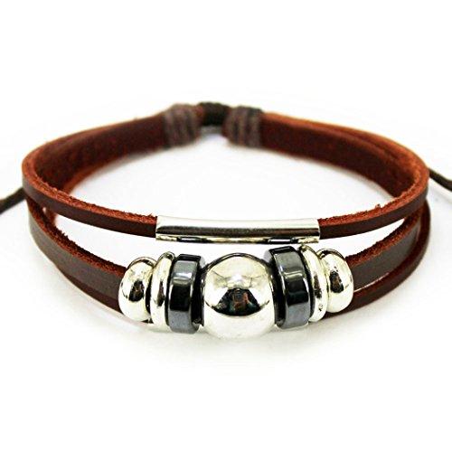 Journaling Strips (MORE FUN Fashion Bright Beads Metal Ring Multistrand Leather Bracelet Adjustable)