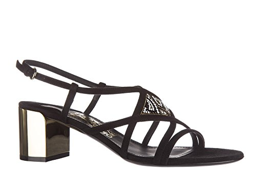 Salvatore Ferragamo sandalias de tacón mujer en ante nuevo emmy negro