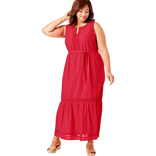 Woman Within Women's Plus Size Crochet Trim Tiered Sleeveless Maxi Dress - Coral Red, 16 W