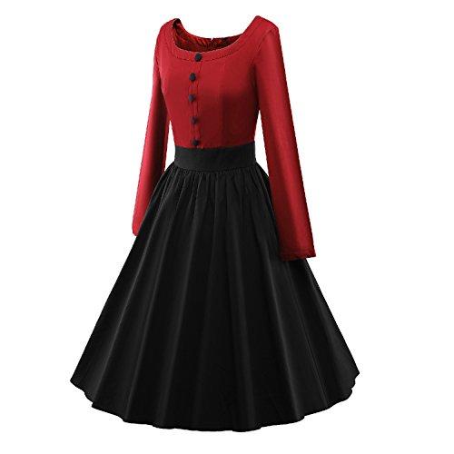 LUOUSE Robe de Soiree ,Vintage Rockabilly style,Retro Années 50, Jupe, Swing,Pin up ,Parfaite Pour Soiree Dansante