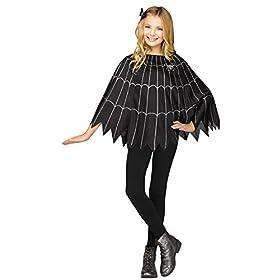 - 41QTPN2FQdL - UHC Girl's Spiderweb Poncho Cape Dress Spooky Kids Halloween Costume