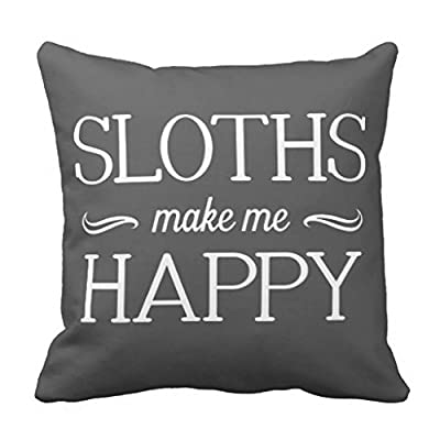 Cukudy Sloths Happy Throw Pillows For Couch Home Decorative Pillow Cover 18 X 18&Quot; Square Canvas Accent Pillow Case For Sofa And Couch - 3872386600757