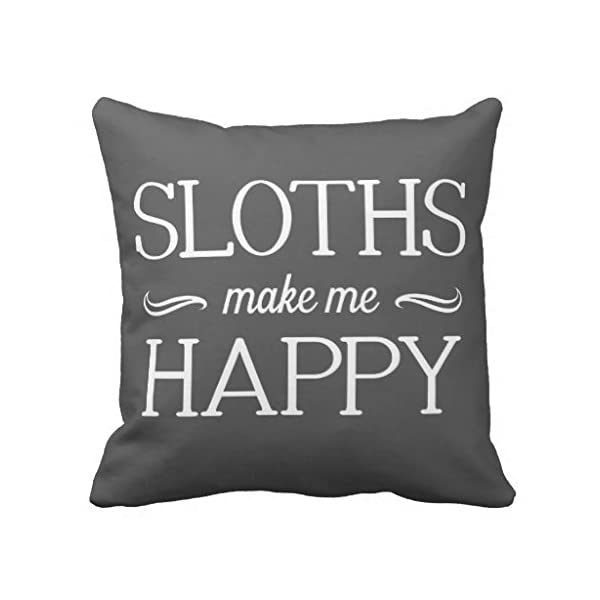 Cukudy Sloths Happy Throw Pillows For Couch Home Decorative Pillow Cover 18 X 18&Quot; Square Canvas Accent Pillow Case For Sofa And Couch -