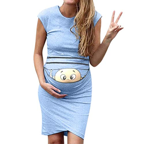 Women's Baby Print Pregnancy Clothes Sleeveless Ruched Stretchy Bodycon Crew Neck Maternity Dress (M, Light Blue) ()