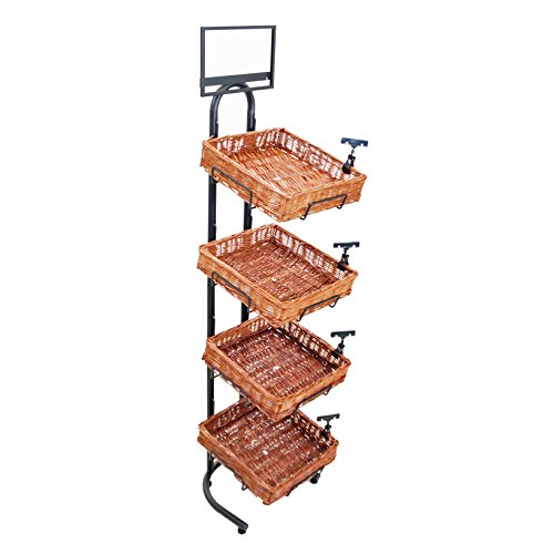 4-Tier 4 Square Willow Basket Display with Sign Frame and Sign - Tier Merchandiser