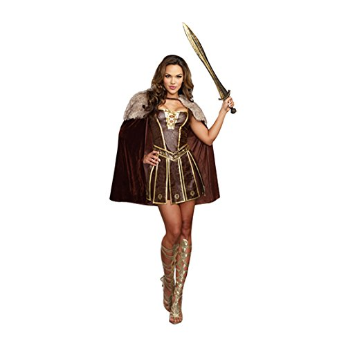 Dreamgirl Women's Victorious Beauty Warrior Costume, Brown, Small -
