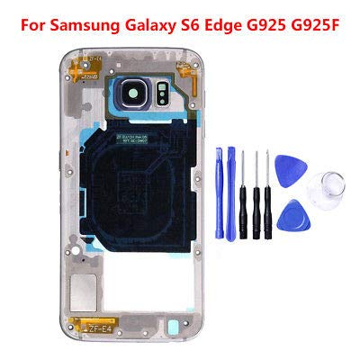 ng Galaxy S6 Edge/Plus Mid Housing Bezel Middle Frame Assembly+ Tools Black for Samsung Galaxy S6 Edge ()