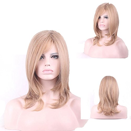 Bob Wigs for Women by YaRui Medium Length Middle Part Heat Resistant Hairs Flax Gold 16 - Colors Tone Skin What My Fit