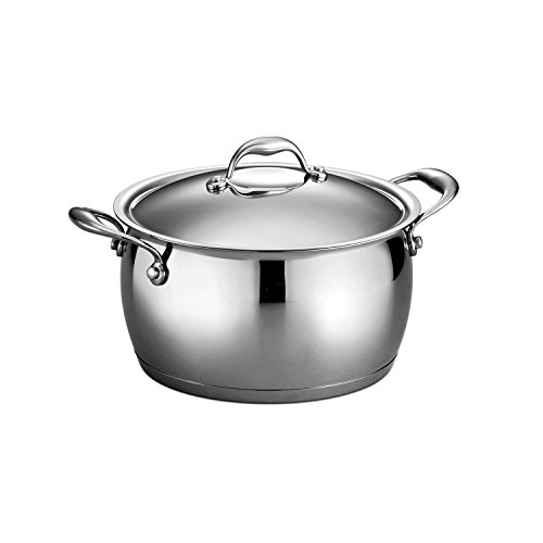 Price comparison product image Tramontina 80102 / 011DS Gourmet Domus Stainless Steel Tri-Ply Base Covered Stock Pot,  5.5 Quart,  Made in Brazil