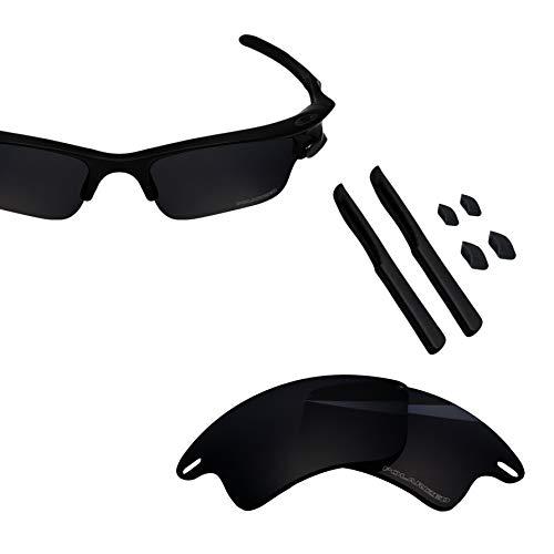 BlazerBuck Anti-salt Polarized Replacement Lenses & Sock Kit for Oakley Fast Jacket XL - Black (Fast Jacket Xl Lenses)