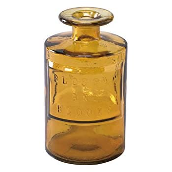 Time Concept Valencia 100% Recycled Glass Jar - Siete, Amber - Handcrafted Vase, Home Decor