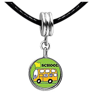 Chicforest Silver Plated Fun School Bus Photo Black Crystal Flower dangle Charm Beads Fits Pandora Charm Bracelet