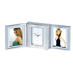 Personlaised Stainless Steel Folding Quartz Alarm Clock with 2 Frames - add your own message/logo