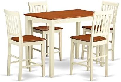 YAVN5-WHI-W 5 Pc counter height set-pub Table and 4 bar stools with backs