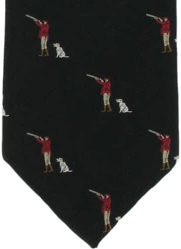 Black Gun Man & Gun Dog Silk Tie by Michelsons of London