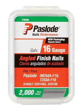 Paslode - 650232 2 1/2-Inch by 16 Gauge 20 Degree Angled Galvanized Finish Nails for Finish Nailer (2,000 per Box)