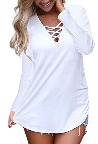 Sleeve Criss Cross Casual Basic up Blouse White XL ()