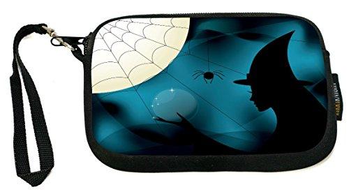 Rikki Knight Halloween Witch Silhouette on Blue Spider web - Neoprene Clutch Wristlet Coin Purse with Safety Closure ()