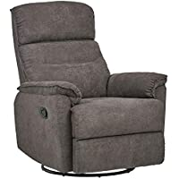 Ravenna Home Pull Recliner with Rotating 360 Swivel Glider, 27.6'W, Grey