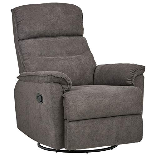 "Ravenna Home Pull Recliner with Rotating 360 Swivel Glider, Living Room Chair, 27.6""W, Grey"