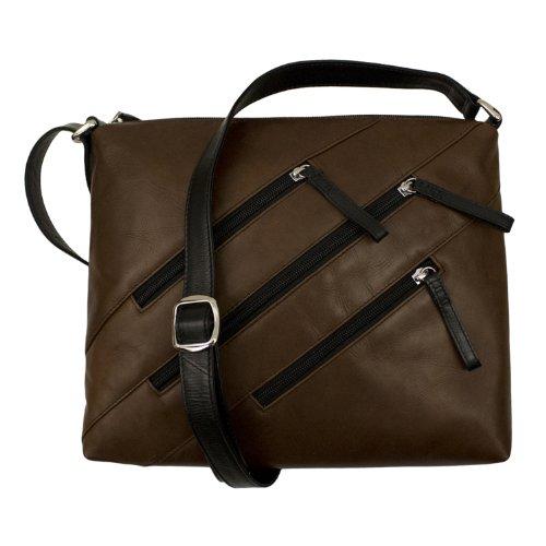 Cross Zipper body Black Toffee Handbag Leather f5wqYdf