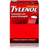 Tylenol Extra Strength Caplets, Fever Reducer and Pain Reliever, 500 mg, 50 ct., Pack of 2
