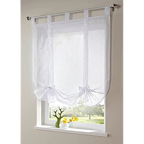 Uphome 1pcs Cute Bowknot Tie Up Roman Curtain   Tab Top Sheer Kitchen  Balloon Window Curtain,39 X 55 Inch,White