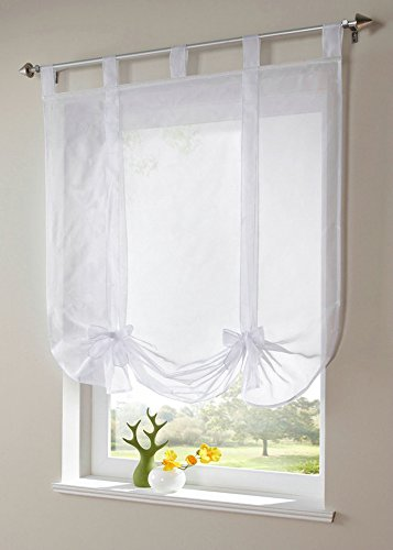 Uphome 1pcs Cute Bowknot Tie-Up Roman Curtain – Tab Top Sheer Kitchen Balloon Window Curtain,39 x 55 Inch,White