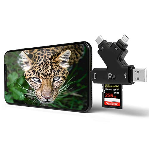 Memory SD Card Reader 4 in 1 Game Camera Card Viewer-Trail Hunter View Hunting Photos and Videos or for Trail Camera Viewer on Smartphone for iPad Mac&Android,SD & Micro SD(Black) (Game Camera Viewer)