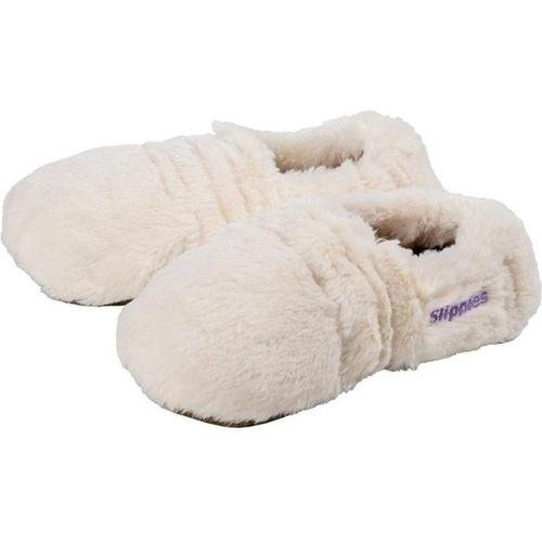 Warmies Slippies Deluxe Crema Peluche Gr. M (36-40) - Riempimento Rimovibile