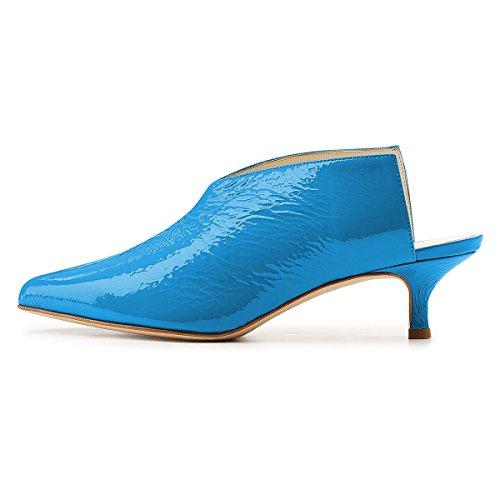 Slip Pumps Shoes Heels Women Clog Low Mules Toe Blue On Sandals Pointed Slide Kitten Xyd 0OzBqO