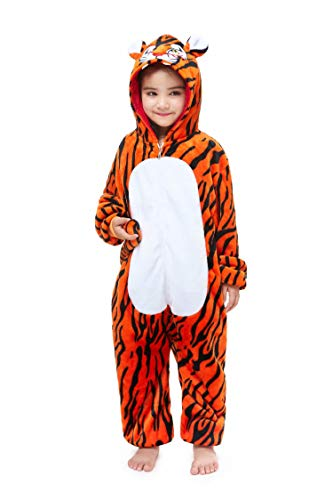 Tiger Costume For Kids (Halloween Cosplay Tiger Animal Onesie for Kids One-Piece Costume 7)