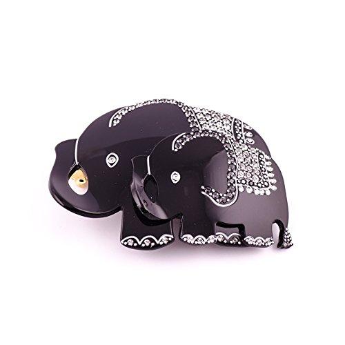 MC Davidian - Barrette matic 8cm Éléphants TGM Full éléphant en famille - noir, Décor 1