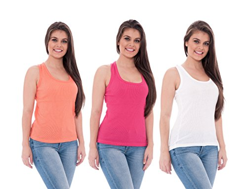 Unique Styles Womens Tank Tops 100% Cotton Ribbed Camisole Pack of 3 (Small, 3 Pack: White, Rose, Coral)