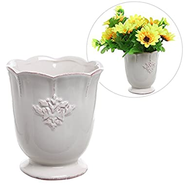 French Country Design Off-White Ceramic Small Decorative Vase / Succulent Plant Flower Planter Pot - MyGift®