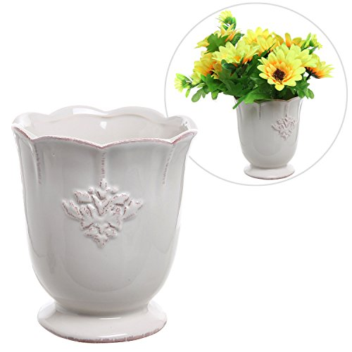 Country Off White Ceramic Decorative Succulent