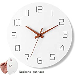 Ryuan Modern Simple Wooden Wall Clock,Battery Operated Silent Non-Ticking Quartz Decorative Wood Hands Clocks for Living Room Home Office (12 inch)