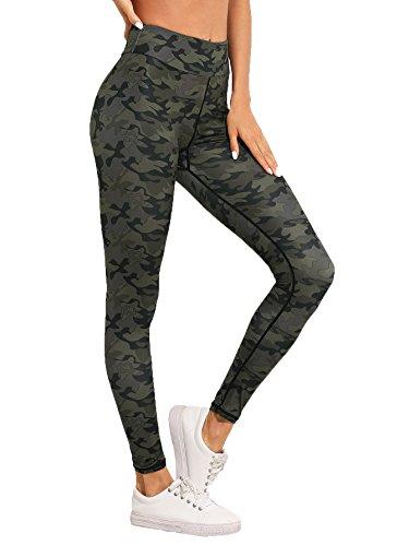 SweatyRocks Women's Stretchy Print Wokout Leggings High Waist Yoga Pants Camo #3 L